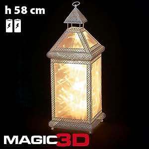 DECORACIÓN LÁMPARA DE LUZ BLANCA MAGIC 3D, BATERÍA DE 20 LED H 58 CM-BORDES METAL TRAFORATI-LUZ FIJA CLASSIC-BLANCO