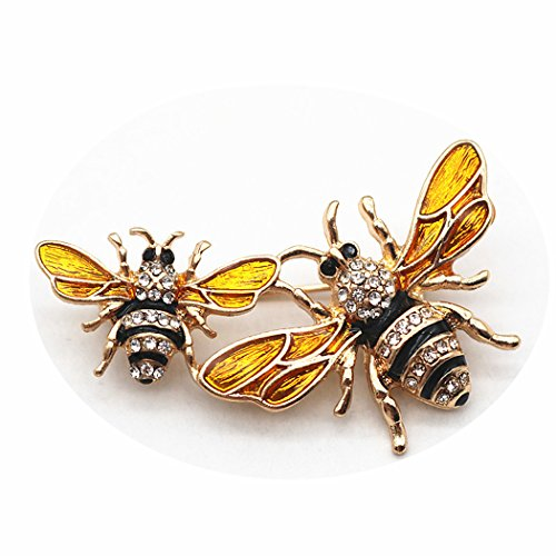 Fiery Summer Classics Metal Double Bees Shirt Brooch Novelty Suit and Vest Pin (Black Eyes)