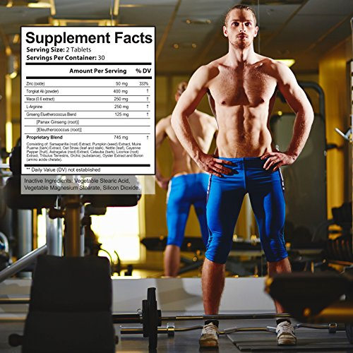 FLASH SALE All Natural Male Enhancement Energy Boosting Formula With L Arginine, Maca Root, Tongkat Ali & Ginseng To Improve Performance, Energy, Stamina For Pre Workout, 60 capsules