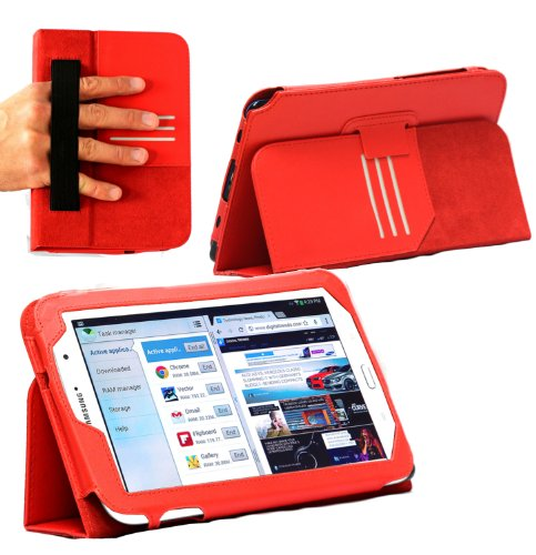 MiTAB Bicast Leather Case Cover with Stand & Hand Strap Compatible with The Samsung Galaxy Note 8.0 N5100 / N5110 Tablet Phone (Red)