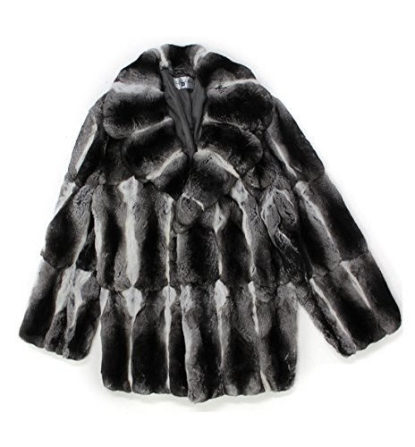 [611792 New Mens Natural Chinchilla Fur Mid Length Stroller Coat Jacket 52] (Chinchilla Fur Coat)