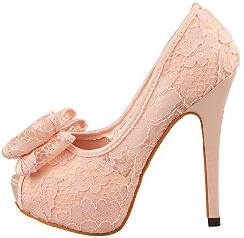 Toe Bowknot Lace HooH 2 Pink Peep 1387 Wedding Pumps Women's wqpfBtxPnv