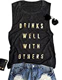 SCX Women Letter Print Tank Drinks Well with Others Summer Street Fashion Shirts