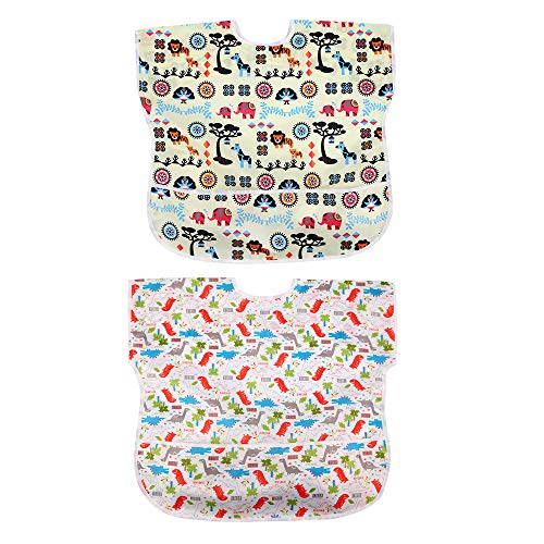 Short Sleeve Baby Bibs 2 Pack Unisex Infant Toddler Waterproof, Washable for 12-36 Months, Baby Dinosaur and Animal Forest