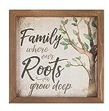 Family Where Roots Grow Deep Tree 11 x 11 Wood Farmhouse Frame Wall Plaque