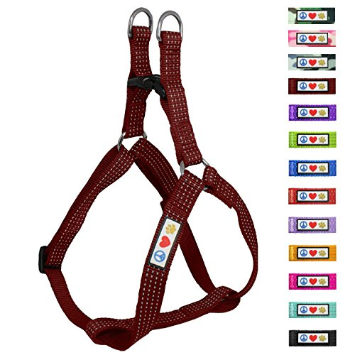 Pawtitas Reflective Step in Dog Harness or Reflective Vest Harness, Comfort Control, Training Walking of Your Puppy/Dog Extra Small Dog Harness XS Marsala Brown Dog - Dog Shoulder Harness