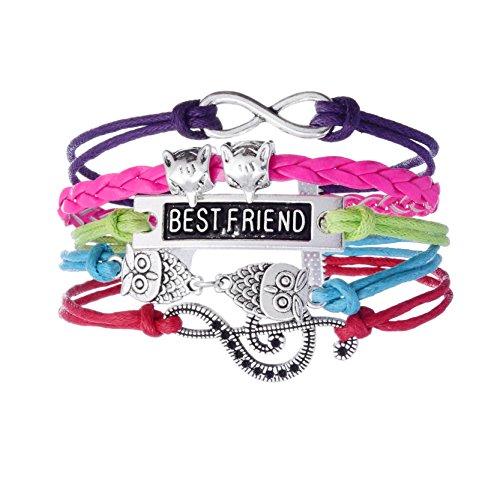 Women Handmade Owl Head and Fox Head Colorful Stripped Bracelet for Best Friend