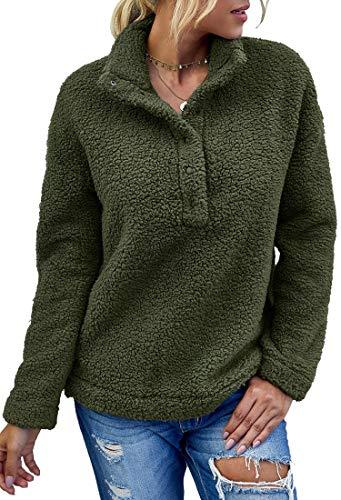 Angashion Womens Long Sleeve 1//4 Zip Up Lapel Fleece Sweatshirt Warm Plaid Fluffy Hoodies Pullover