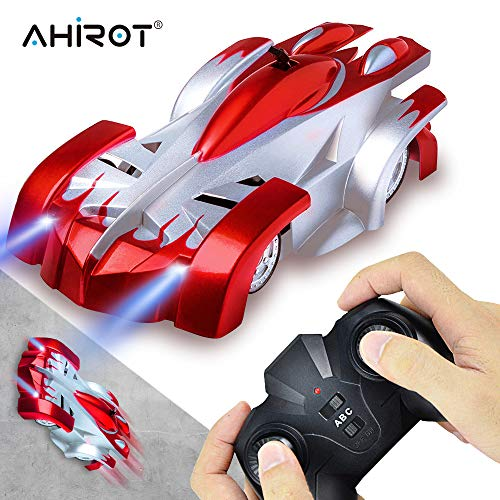 AHIROT Wall Climbing RC Car Remote Control Car Toy, USB Rechargeable Gravity Defying RC Car with Update Remote Control, 360°Rotating Stunt for Boy Girl Kids Ideal for Birthday Gift (Red)