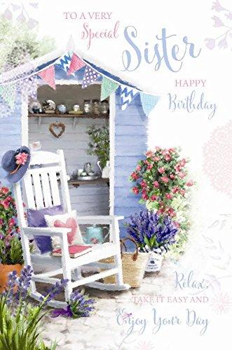 Especial hermana feliz cumpleaños té cobertizo silla libro y flores diseño tarjeta de felicitación
