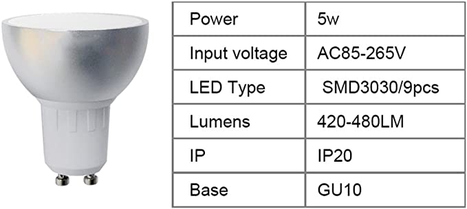 6-Pack GU10 5W LED WiFi RGBW LED Bulb Spotlight Dimmable APP Remote Control Work with Alexa Echo IFTTT Support APP Voice Timer Control Home Automation Lamp New Chip Technology 420-480LM AC85-265V GU10ECHO