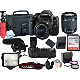 Canon T6i Video Kit with 18-55mm STM Lens, Shot-Gun Mic + LED Video Light and Sandisk 64GB SD Card Class 10 - Wi-Fi Enabled