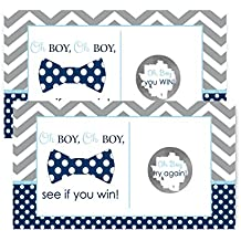 Bow Tie Baby Shower Scratch Off Game Cards Navy & Grey...