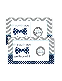 Bow Tie Baby Shower Scratch Off Game Cards Navy & Grey Chevron BOBEBE Online Baby Store From New York to Miami and Los Angeles