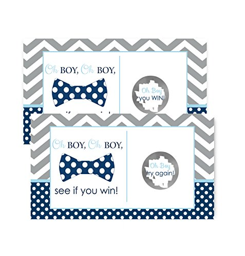 Bow Tie Baby Shower Scratch Off Game Cards Navy & Grey Chevron