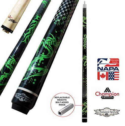 Champion Green Dragon Pool Cue Stick, Billiard Glove, Predator 314 Taper, 12.75mm, Retail Price: MSRP $220 (19 oz, No Case) ()