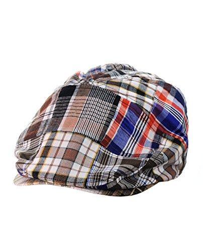 NYFASHION101 Men's Multicolor Plaid Patchwork Buttoned Duck Bill Newsboy Ivy Cap, Brown