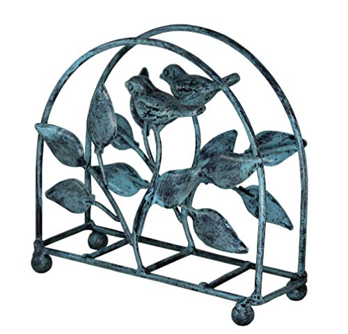 Tissue Holder Classic - Cast Iron Bird & Tree Classic Napkin Holder/Tabletop Freestanding Tissue Dispenser, Turquoise