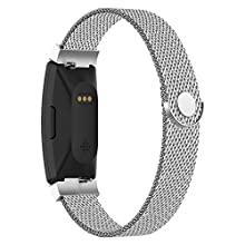 POY Compatible with Fitbit Inspire Hr Bands, Stainless Steel Replacement for Fitbit Inspire and Ace 2 Metal Loop Bracelet Sweatproof Wristbands for Women Men Silver Small