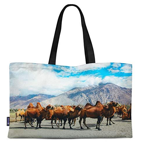 Timingila Brown Bactrian Camel Animal Print Canvas Shopping Tote Bag Carrying Handbag Casual Shoulder Bag 12x16 Inches