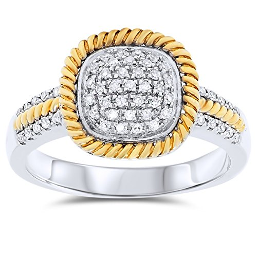 14k White and Yellow Gold Diamond Ring, Birthstone of - Birthstone Gold Mothers Genuine Ring