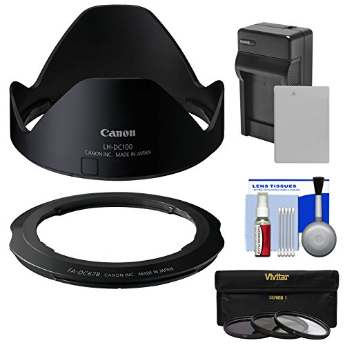 Canon LH-DC100 Lens Hood & FA-DC67B Filter Adapter for PowerShot G3 X with 3 UV/CPL/ND8 Filters + Battery & Charger + Kit