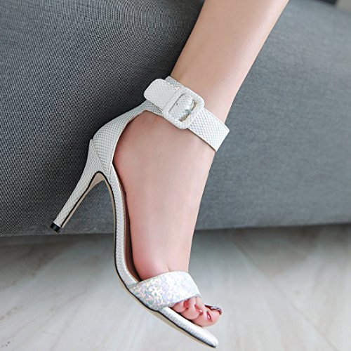 bout à chaussures avec tribunal mariage boucle glitter femmes la à sandale chaussures blanc sangle cheville chaton YE ouvert talon YqHfXvYR