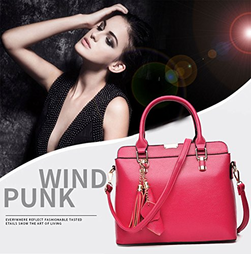 Leather Handle Rose Handbags Fekete Bags Red With Womens Bags Handbags Hand Shoulder Totes xwR8HzqC