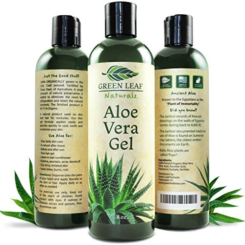 Green Leaf Naturals Organic Aloe Vera Gel, Pure Daily Moisturizer for Skin, Face and Hair, 8 ()
