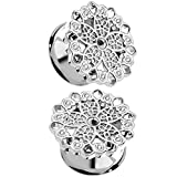 Pair of Floral Filigree with Clear Crystal Accents Ear Plugs Steel Tunnels Double Flared (0G (8mm))