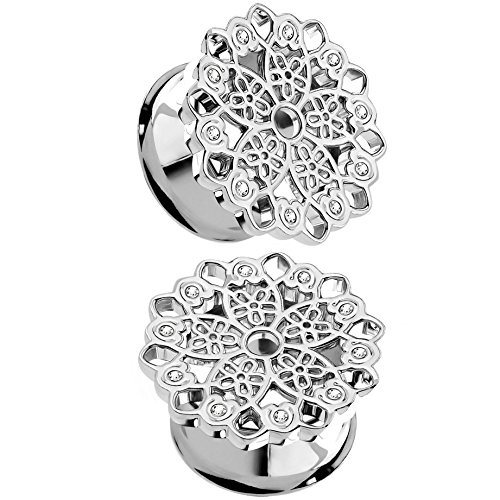 Pair of Floral Filigree with Clear Crystal Accents Ear Plugs Steel Tunnels Double Flared (0G (8mm)) by BYB Plugs