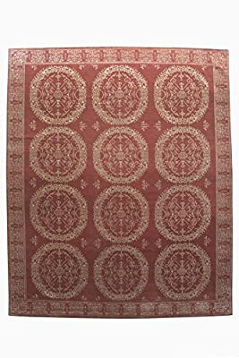 Patchwork Pattern Design Nepalese Handmade Area Rug 9' X 12' Hand Knotted Nepali Carpet 9 Feet By 12 Feet 100 Knot Wool and Silk Red Color Nepali Rug