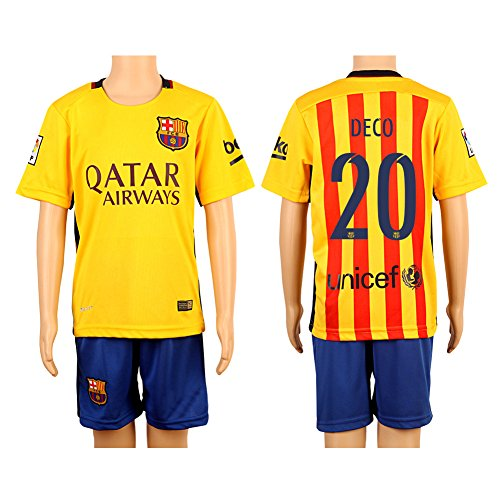 Price comparison product image 2015 / 2016 20 Deco Yellow & Red Away Kids Youth Soccer Jersey & Short