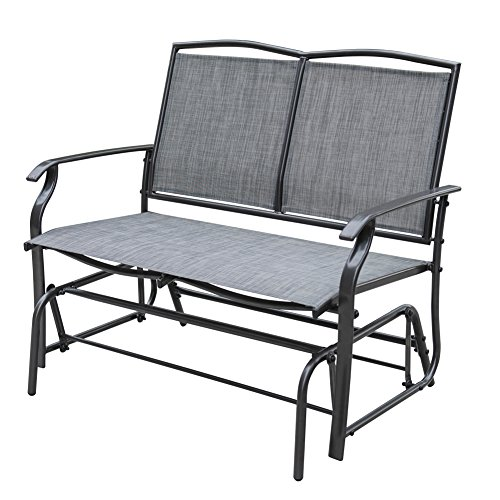 Sundale Outdoor 2 Person Loveseat Glider Bench Chair Patio Porch Swing with Rocker Steel Frame, Green