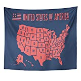 Emvency Tapestry Black Country Map of United States America with Names USA Geographic Themes Design Silhouette California Home Decor Wall Hanging for Living Room Bedroom Dorm 50x60 inches