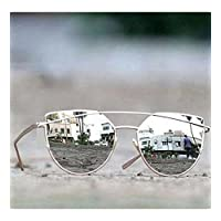 Younky UV Protected Cateye Unisex Sunglasses (DRSSM, 55, Silver)