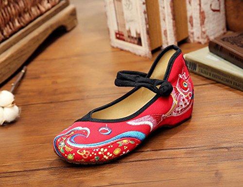 WXT Zapatos bordados, carpa, lino, lenguado, estilo étnico, femenino, moda, cómodo, bailando zapatos red black