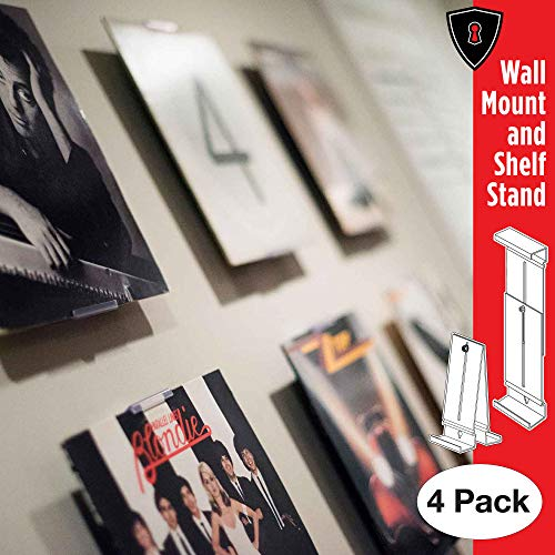 Album Mount Vinyl Record Frame, Wall Mount and Shelf Stand, Invisible and Adjustable, 4 Pack
