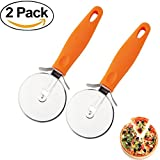 Pizza Cutter Wheel with Non-slip Handle Stainless Steel Super Sharp and Easy To Clean Slicer(2 pack)