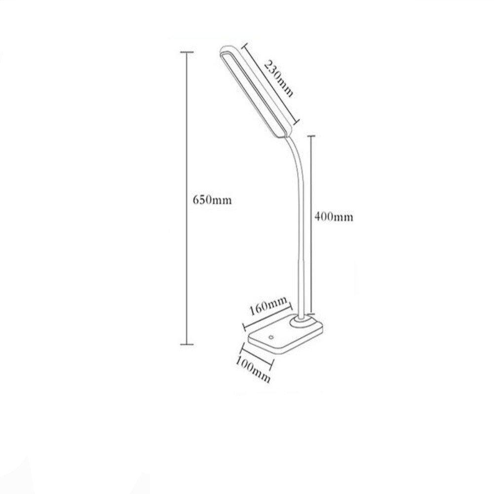 Cww USB LED Wiederaufladbare Lampe Auge Dimming DREI-Farben-Schalter Studentenarbeit lösen Tischlampe