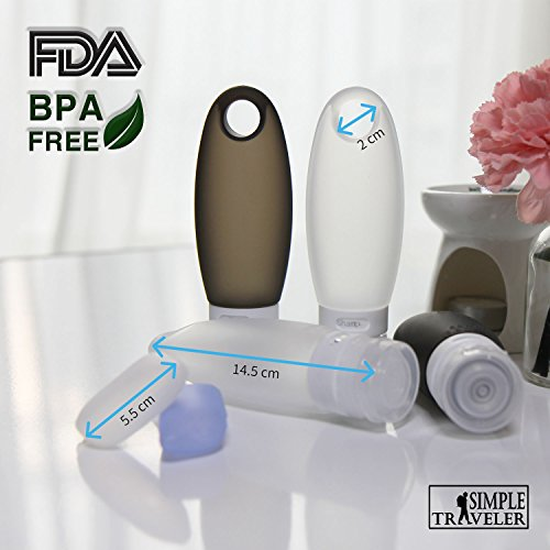 TSA approved Toiletry Bag Squeezable Silicone Travel Bottles Set | Clear Leak Proof Refillable Containers for Liquids (BPA Free, 3.3 OZ) | Toothbrush covers with Hanging Strap | Quart Sized Air Carry- by Simpletraveler (Image #5)