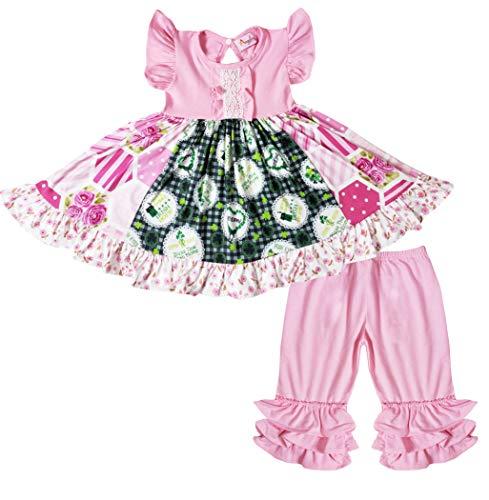 Boutique Toddler Girls Spring Colors St. Patrick's Day Rose Floral Dress Capri Set 4T/L