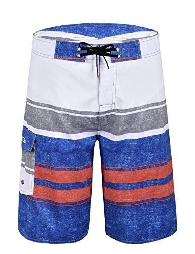 Nonwe Men's Stripe Quick Dry Swim Trunks White(with blue) 28