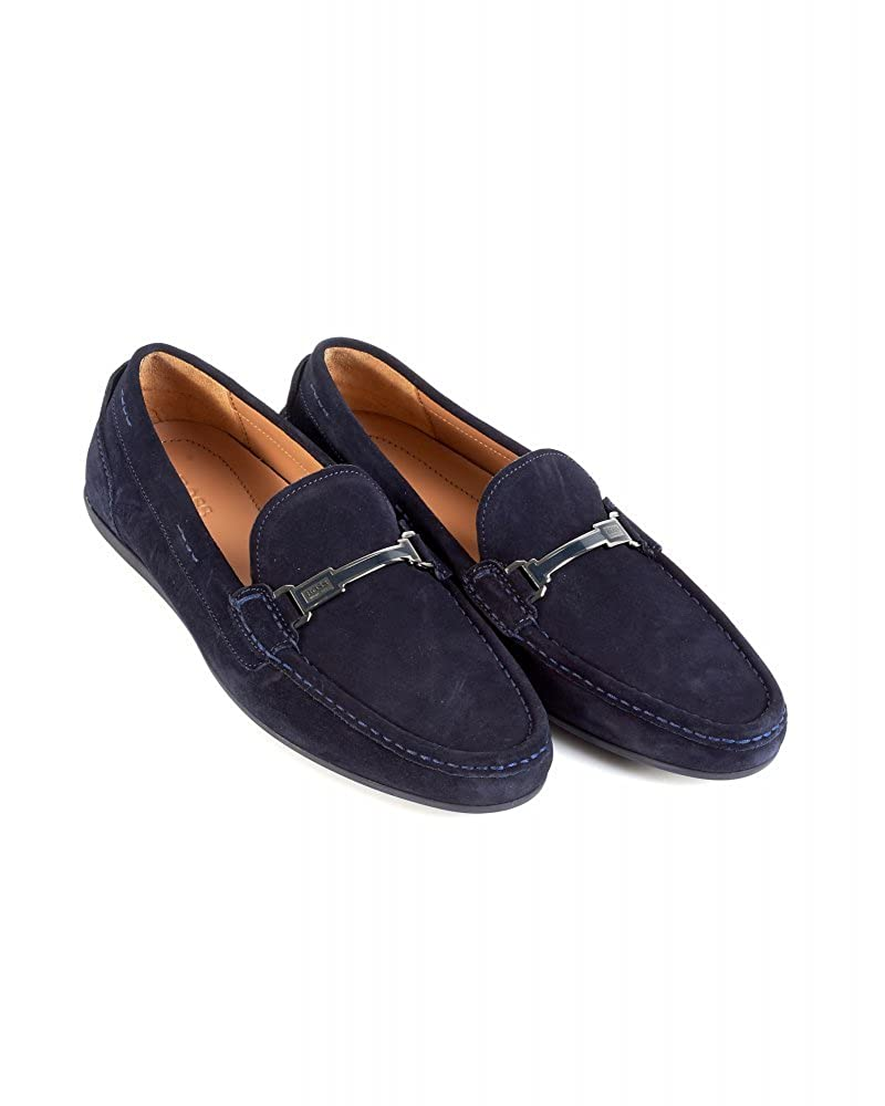 94b2491a5a987 BOSS Hugo Black Suede Driving Shoes Navy Blue 'Flarro' Loafers ...