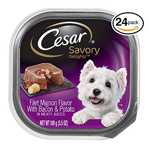Cesar Savory Delights Wet Dog Food Filet Mignon Flavor With Bacon & Potato, (Pack Of 24) 3.5 Oz. Trays
