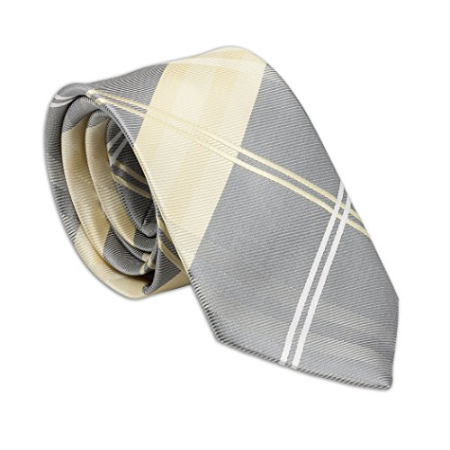Boys Classic Yellow and Grey Plaid Tie, Youth 45 inch