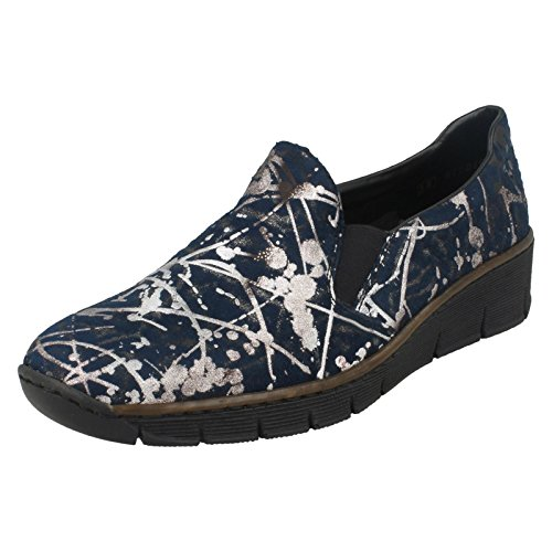 Women's Low Wedge Shoe Print Multi Graphic Blue Blue Rieker dW0xwfqXd