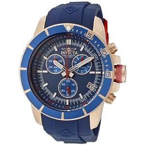 Invicta Men's 11749BRB Pro-Diver Chronograph Blue Dial Blue Polyurethane Watch
