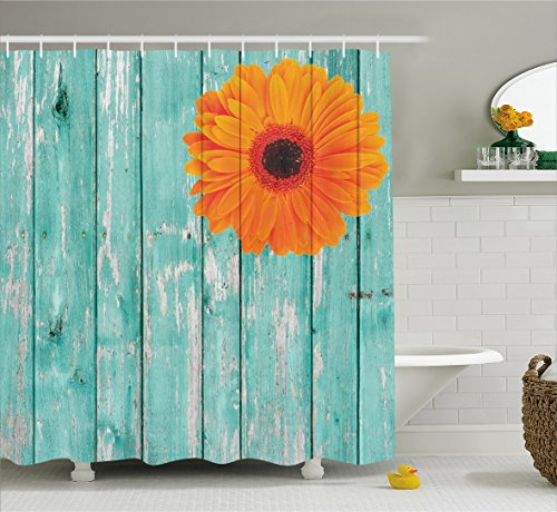 Ambesonne Rustic Barn Decor Shower Curtain Set, Daisy on Vintage Wood Barn Fence Picture Fresh Gerbera Flower Grunge Artsy Print, Bathroom Accessories Collection, Polyester Fabric,Mint Orange (Rustic Daisy)