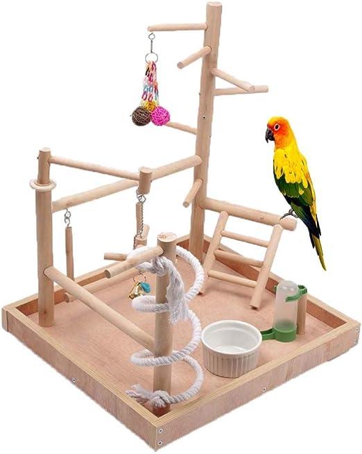 Supporto per Palestra in Legno per Parco Giochi per Uccelli Box per Uccelli in Legno Supporto per pappagalli WHK Cavalletti per Gabbia per Uccelli
